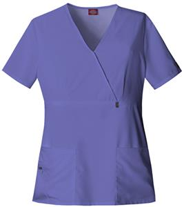 Dickies Women's Natural Mock Wrap Scrub Tops