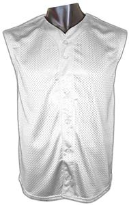 Button Sleeveless Mesh Baseball Jersey-Closeout