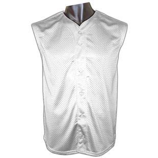 Button Sleeveless Mesh Baseball Jersey-Closeout