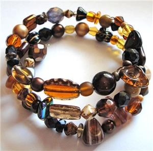 Brown Glass Bead Memory Wire Bracelet