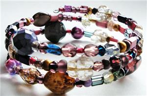 Purple Mix Glass Bead Memory Wire Bracelet
