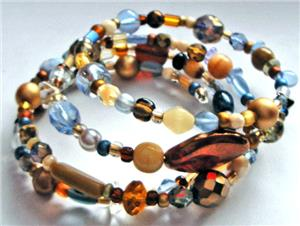 Blue/Bronze Czech Glass Bead Memory Wire Bracelet