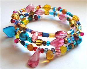 Carnival Mix Glass Bead Memory Wire Bracelet