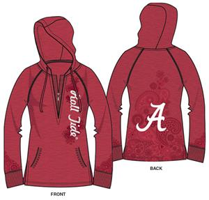 Alabama Univ Womens Burnout Fleece Hoody