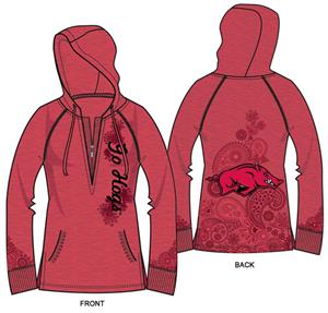 Arkansas Razorbacks Womens Burnout Fleece Hoody