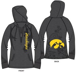 Iowa Hawkeyes Womens Burnout Fleece Hoody