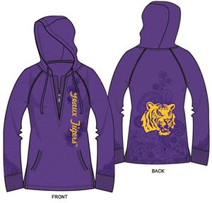 LSU Tigers Womens Burnout Fleece Hoody
