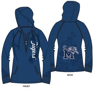 Memphis Tigers Womens Burnout Fleece Hoody