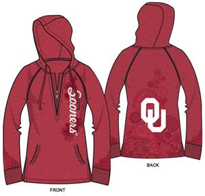 Oklahoma Sooners Womens Burnout Fleece Hoody