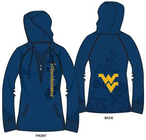 West Virginia Womens Burnout Fleece Hoody