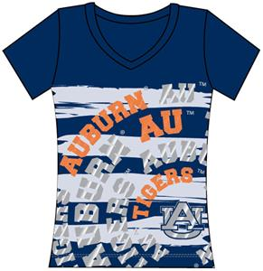 Auburn Tigers Womens V-Neck Jewel &amp; Foil Shirt