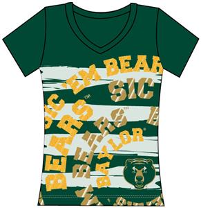 Baylor Bears Womens V-Neck Jewel & Foil Shirt