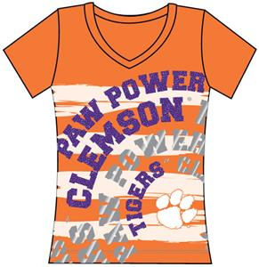 Clemson Tigers Womens V-Neck Jewel &amp; Foil Shirt