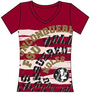 Florida State Womens V-Neck Jewel &amp; Foil Shirt