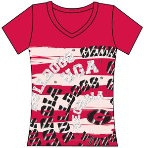 Georgia Bulldogs Womens V-Neck Jewel &amp; Foil Shirt