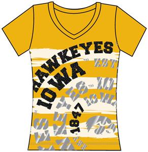 Iowa Hawkeyes Womens V-Neck Jewel & Foil Shirt