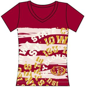 Iowa State Womens V-Neck Jewel & Foil Shirt
