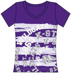 Kansas State Womens V-Neck Jewel & Foil Shirt