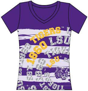 LSU Tigers Womens V-Neck Jewel & Foil Shirt