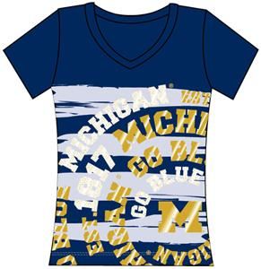 Michigan Womens V-Neck Jewel & Foil Shirt
