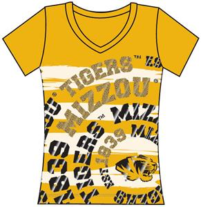 Missouri Tigers Womens V-Neck Jewel &amp; Foil Shirt