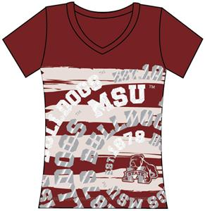 Mississippi State Womens V-Neck Jewel & Foil Shirt