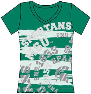 Michigan State Womens V-Neck Jewel & Foil Shirt