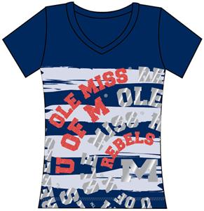 Ole Mississippi Womens V-Neck Jewel & Foil Shirt
