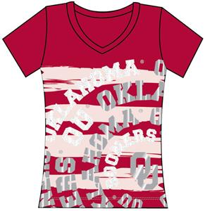 Oklahoma Sooners Womens V-Neck Jewel & Foil Shirt