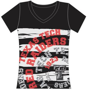 Texas Tech Womens V-Neck Jewel & Foil Shirt