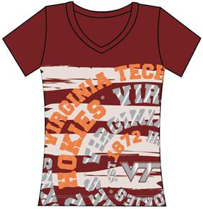 Virginia Tech Womens V-Neck Jewel & Foil Shirt
