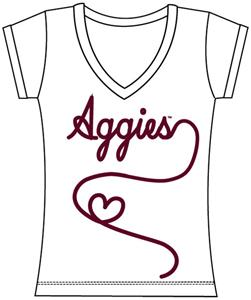 Texas A&M Womens V-Neck Metallic Script Top