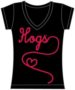 Arkansas Womens V-Neck Metallic Script Top