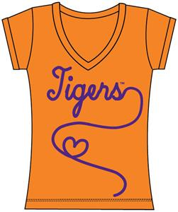 Clemson Tigers Womens V-Neck Metallic Script Top