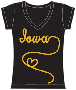 Iowa Hawkeyes Womens V-Neck Metallic Script Top
