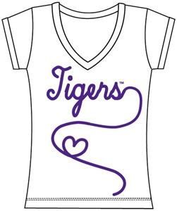 LSU Tigers Womens V-Neck Metallic Script Top