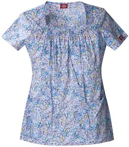 Dickies Women&#39;s Enzyme Print Sq Neck Scrub Tops