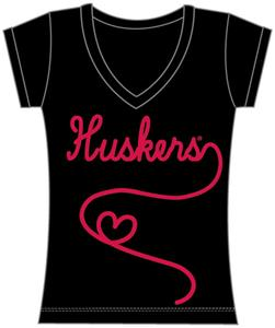 Nebraska Huskers Womens V-Neck Metallic Script Top