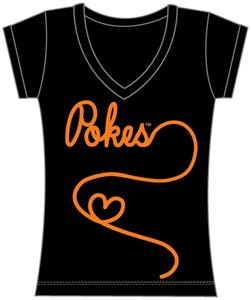 Oklahoma State Womens V-Neck Metallic Script Top