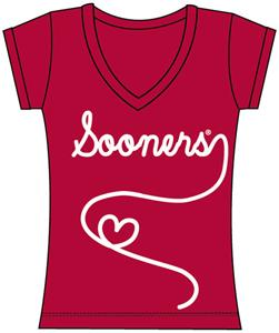 Oklahoma Sooners Womens V-Neck Metallic Script Top
