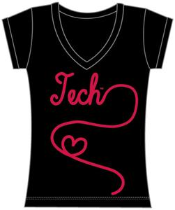 Texas Tech Womens V-Neck Metallic Script Top