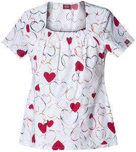 Dickies Women's Gen Flex Print Sq Neck Scrub Tops