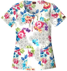 Dickies Womens Gen Flex Print Scoop Neck Scrub Top
