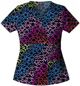 Dickies Women's Enzyme Print Mock Wrap Scrub Tops