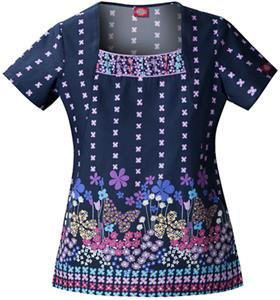Dickies Women's Hip Flip Print U Neck Scrub Tops