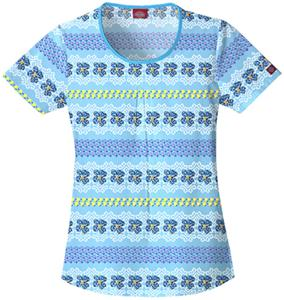 Dickies Women's Enzyme Print Rnd Neck Scrub Tops