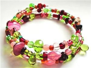 Pink/Lime/Red Glass Bead Memory Wire Bracelet