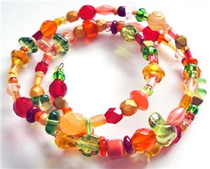 Orange Glow Glass Bead Memory Wire Bracelet