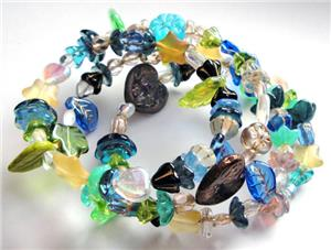 Enchanted Glass Bead Memory Wire Bracelet