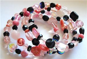 Pink/Black Glass Bead Memory Wire Bracelet